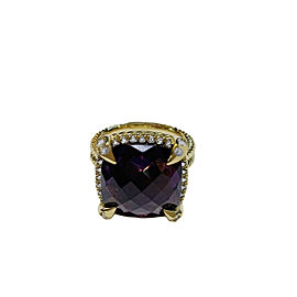 David Yurman Yellow Gold Chatelaine Ring Amethyst 14mm