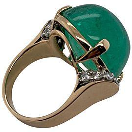 Trabert & Hoeffer, Mauboussin Gold, Cabochon Emerald and Diamond Ring