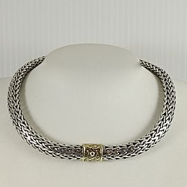 "John Hardy Sterling Silver 18K 16"" 12mm Classic Chain Necklace with 18K Gold Clasp"