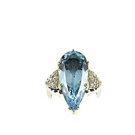 Lagos Sterling Silver 18K Yellow Gold .40tcw Blue Topaz Diamond Glacier Teardrop Ring