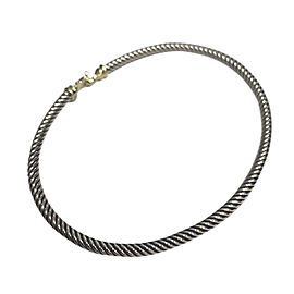 David Yurman Sterling Silver and 18K Yellow Gold Cable Buckle Bracelet