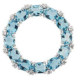 Platinum, Diamond and Blue Topaz Circle Brooch