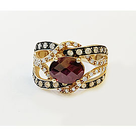 LeVian 14k Rose Gold Garnet Ring with Diamonds