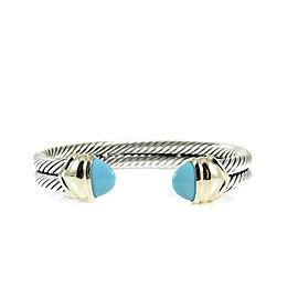 David Yurman Sterling Silver 14K Yellow Gold 2-Row Turquoise Capri Bracelet