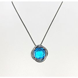 David Yurman Sterling Silver Blue Topaz Necklace