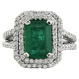 2.50 Carat Emerald 14K White Gold Diamond Ring