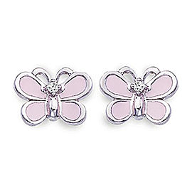 Aaron Basha Butterfly 18k White Gold Enamel 0.04ct. Diamond Earrings