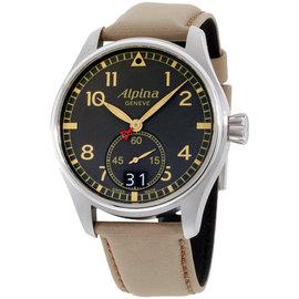 Alpina Startimer Pilot Big Date AL280BGR4S6 Grey Dial Leather Strap 44mm Mens Watch