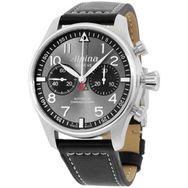Alpina Startimer Pilot AL860GB4S6 Stainless Steel & Leather Automatic 44mm Mens Watch