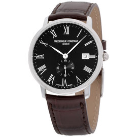 Frederique Constant Slimline FC-245BR5S6DBR Stainless Steel & Black Dial 37mm Mens Watch