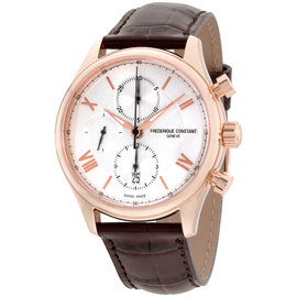 Frederique Constant Horological FC392MV5B4 Rose Gold Tone Stainless Steel Silver Dial 44mm Mens Watch