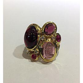David Yurman 18K Yellow Gold Diamond Tourmaline Ruby Ring Size 7.25