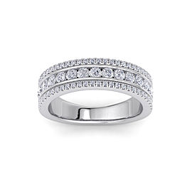 GLAM ® Three-row ring in 18K gold with white diamonds of 0.93 ct in weight