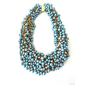 Fantasia by DeSerio Gold Tone Hardware with Turquoise And Swarovski Crystal Bib Necklace