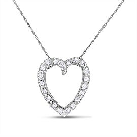 14k White Gold 0.88 Carat Vintage Old Mined Diamond Heart Pendant w/Chain