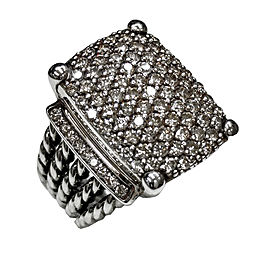 David Yurman 925 Sterling Silver with 2.44ct Diamond Ring Size 7
