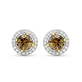 Leibish 18K White and Rose Gold Fancy Brown Round Diamond Floating Halo Earrings