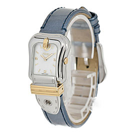 FENDI 3800L White shell Dial SS/GP/Leather Quartz Ladies Watch