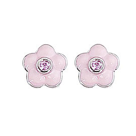Aaron Basha 18k White Gold Pink Sapphire Enamel Flower Earrings