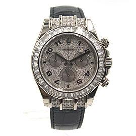 Rolex Cosmorgraph Daytona 18K White Gold & Leather Diamond 40mm Watch