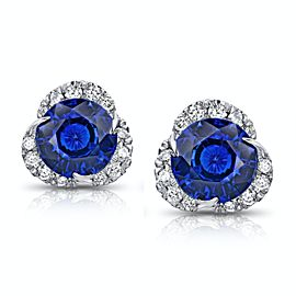 Platinum 3.46ctw. Sapphire 0.39ctw. Diamond Earrings
