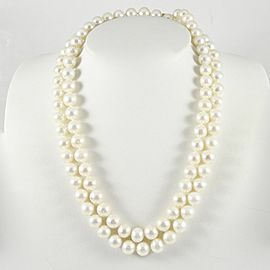 "14K Yellow Gold Ball Clasp 37"" 8.5-9mm Freshwater Pearl Strand Necklace"