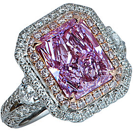 Platinum and 18K Rose Gold with 3.34ct Pinkish Purple Diamond Engagement Ring Size 5.75