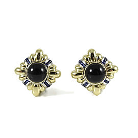 Lagos Couture 18K Yellow Gold Platinum 22mm Square Sapphire Earrings with Removable Onyx Insert