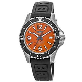 New Breitling Superocean 42 Orange Dial Black Rubber Men's Watch