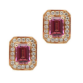 14K Rose Gold 1.96ctw Pink Tourmaline and 0.56ctw Diamond Halo Stud Earrings