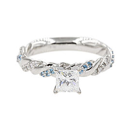 Platinum with 0.50ct Princess Cut Diamond & Blue Topaz Twisted Vine Engagement Ring Size 6