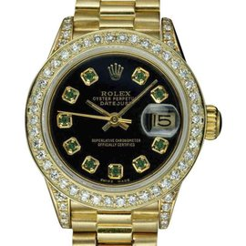 Rolex Datejust 6917 18K Yellow Gold with Black Dial 26mm Womens Watch