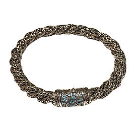 John Hardy 925 Sterling Silver with Blue Topaz Twisted Chain Bracelet