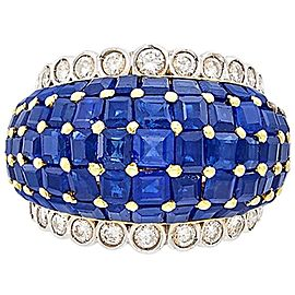 Two-Color Gold, Deep Blue Sapphire and Diamond Bombé Ring