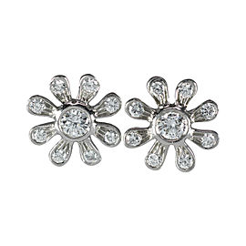 Tiffany & Co. Paloma Picasso Platinum and Diamond Flower Vintage Earrings
