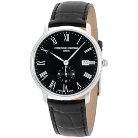Frederique Constant Slimline FC-245BR5S6 Stainless Steel & Black Dial 40mm Mens Watch