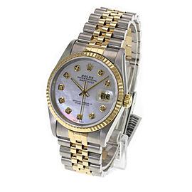 Rolex Mens Datejust 36mm White MOP Diamond Dial 18K Gold Bezel Watch