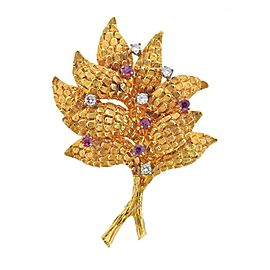 Ruby Diamond Gold Brooch Pin