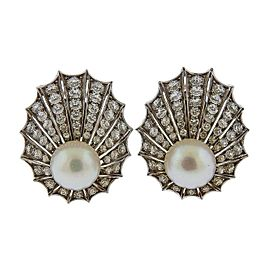 Diamond Pearl Gold Shell Motif Earrings
