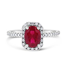 14k White Gold 1.85ct. Diamond & Synthetic Ruby Halo Ring Size 6.75