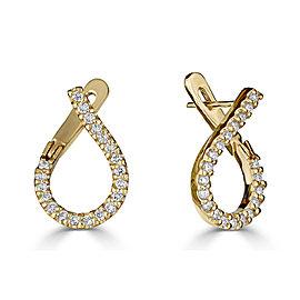 18K Yellow Gold Designer Diamond Earrings GH VS 0.60 Ct Clip On