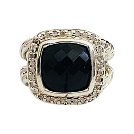 David Yurman 11MM Albion Sterling Silver Onyx and Diamond Ring