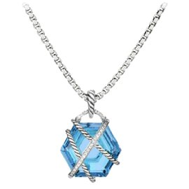 David Yurman Cable Sterling Silver Blue Topaz and 0.13 Ct Diamond Wrap Necklace