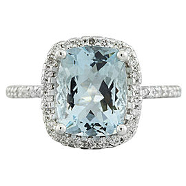 4.30 Carat Aquamarine 14K White Gold Diamond Ring