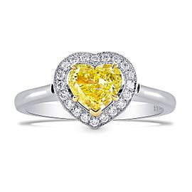Leibish Platinum and 18K Yellow Gold Fancy Intense Yellow Diamond Heart Halo Ring Size 8.25