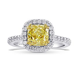 Leibish Platinum and 18K Yellow Gold Fancy Yellow Radiant Diamond Halo Ring Size 6