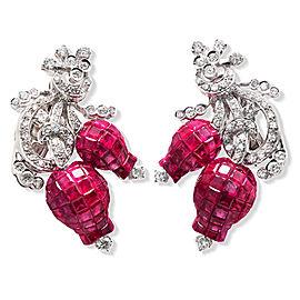18K White Gold Ruby Diamond Tulip Earrings