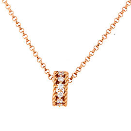 Roberto Coin Symphony Princess 18K Rose Gold 0.22ct Diamond Rondel Pendant Necklace