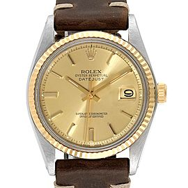 Rolex Datejust Steel Yellow Gold Brown Strap Vintage Mens Watch 1601