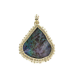 18k Yellow Gold Large Pear Free-form Boulder Opal Enhancer